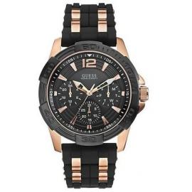 GUESS Black Silicon Rose Gold Multifunction Sporty Men' s Watch W0366G3