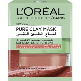 L'Oréal Paris Pure Clay Red Face Mask - Red Algae, Exfoliates and Brightens Pores, 50 ml